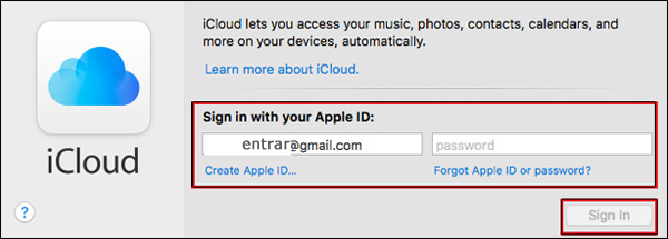 entrar icloud email