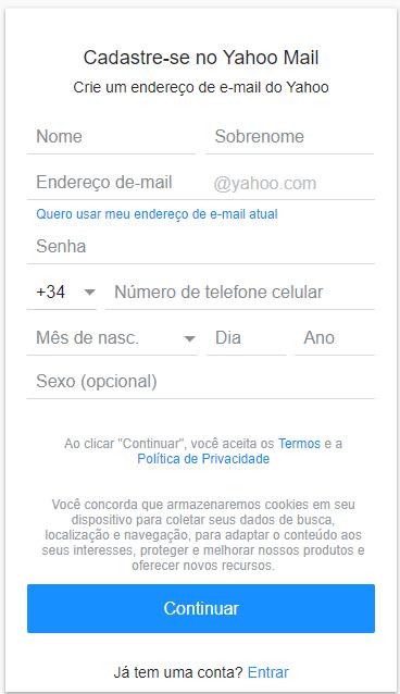criar comta mail-brasil