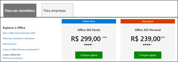 office 365 preço