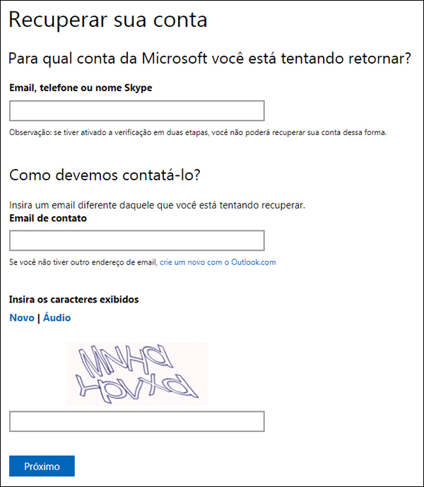 como recuperar senha do outlook 2010